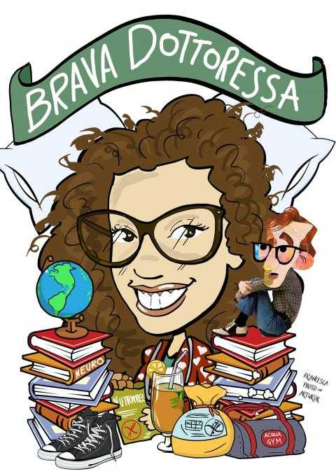 Caricature di laurea di Francesca