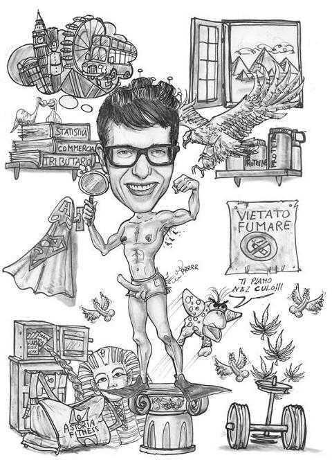 Caricature di laurea di Paolo